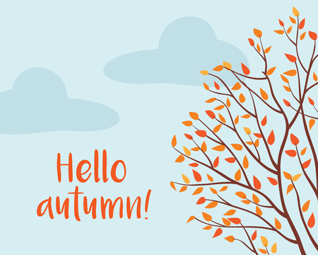 Autumn tree. Fall of the leaves. Sketch, design elements. Vector illustration.