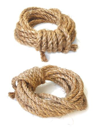 skein: a skein of coarse linen rope isolated Stock Photo