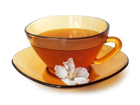 jasmijn groene thee in atransparent amber theekop