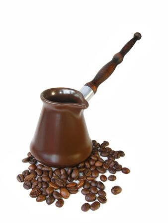 coffee pot: Brazilian ceramic brown coffee pots and coffee beans Stock Photo