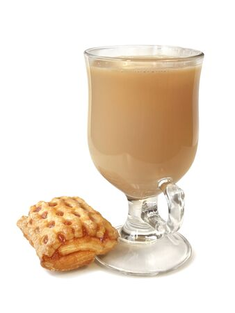 pone: delicious fruit jam puff and a cup of coffee