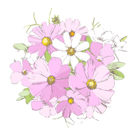 Bright tender spring periwinkle, daisy and forget-me-not wild primrose flowers bouquet isolated on white background Illustration