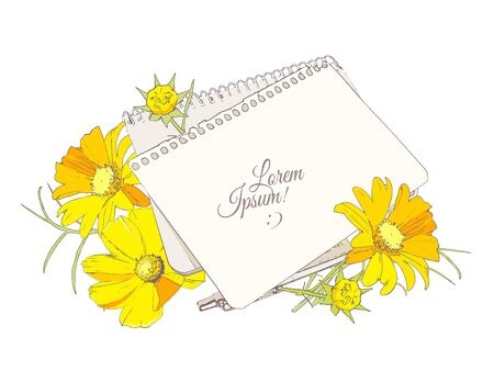 Notebook, sheet of paper, pen and bright flowers bouquet on the table, vector blank for congratulations
