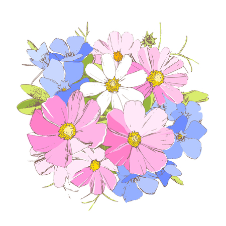 bright periwinkl, daisy and forget-me-not wild primrose flowers Иллюстрация