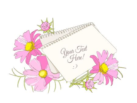 notebook, sheet of paper and bright flowers bouquet on the table, vector blank for congratulations