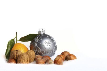 Christmas tree ball and nuts Stock Photo - 12202141