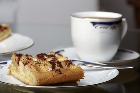 Apple pie and coffee set photo