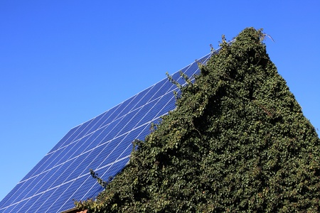 Photovoltaic modules mounted on a barn roof Standard-Bild