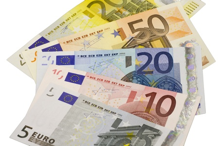 widespread: Euro banknotes widespread  in front of white background