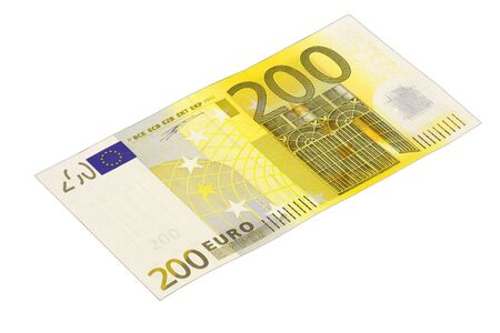 Front side of a 200 Euro banknote  in front of white background