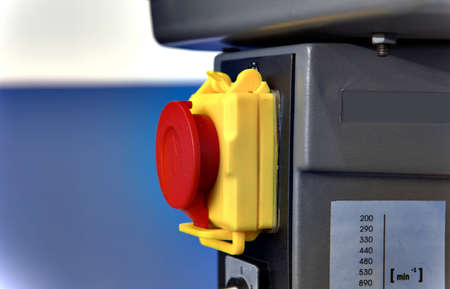 three phase motor: AC power outlet on a industrial box column drill