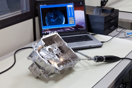 Video endoscopy  Test station with a video endoscope and a notebook