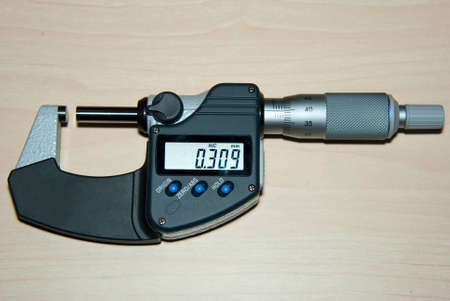 micrometer: Detail view of an outside micrometer with digital display Stock Photo