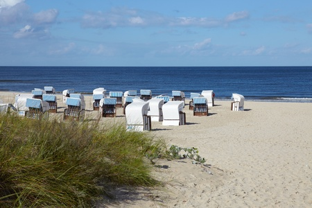 Wicker beach chairs on the beach of the Baltic Sea on the island usedom in Ahlbeck