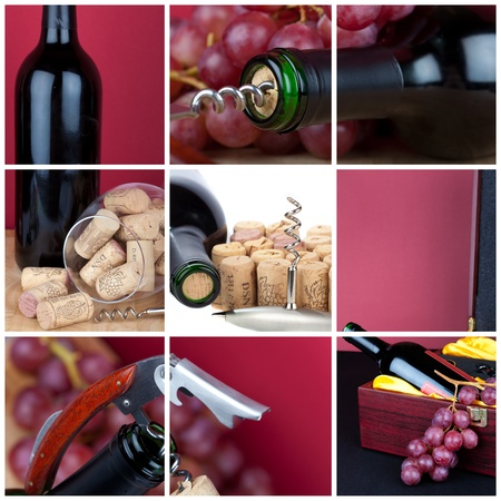 Photo collage of grapes and wine cutlery photo