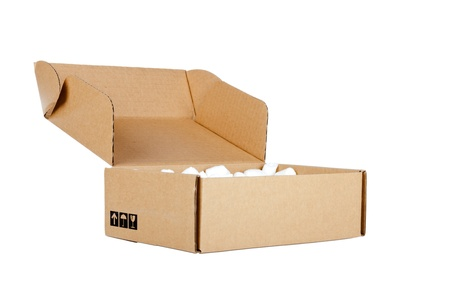 Open cardboard box on white background Stock Photo - 12829856