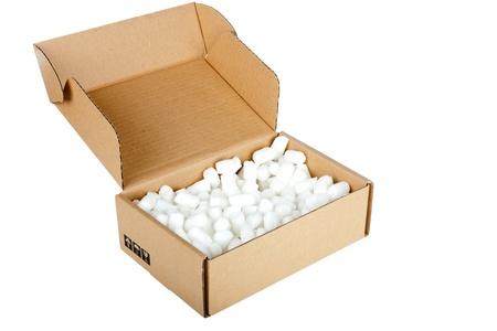 Open cardboard box on white background Stock Photo - 12829864