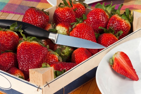 Fresh red Strawberries in a box with a knife photo