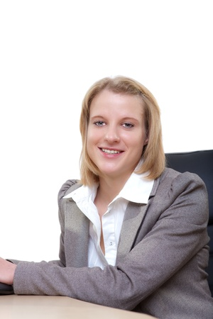 Portrait of pretty young business woman smiling Stock Photo - 13374117