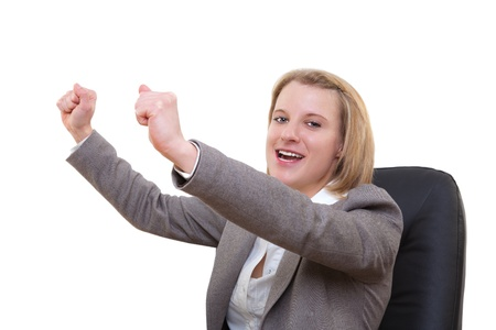 Portrait of a young business woman rejoicing success Stock Photo - 13374075
