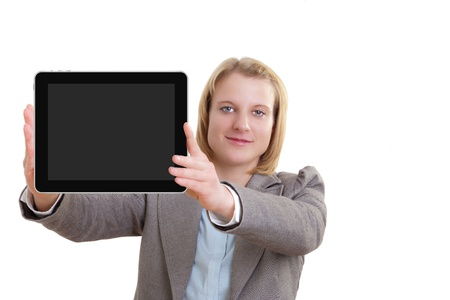 Business Woman Showing blank display of a tablet pc photo