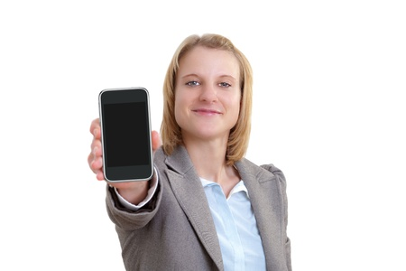 Business Woman Showing blank display of touch mobile phone photo