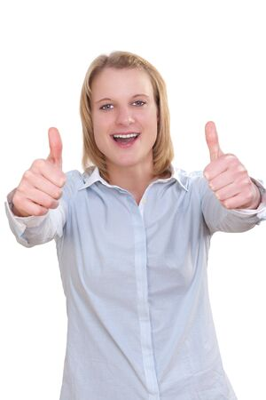 charisma: Smiling businesswoman with thumbs up gesture, isolated on white background