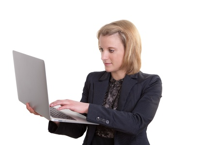 Young Business Woman works with a notebook Stock Photo