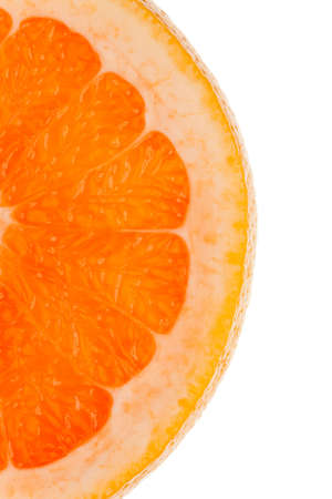 transmitted: Macro shot of a half slice of orange in transmitted light