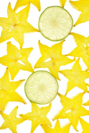 Background from the fruit of carambola slices on white background