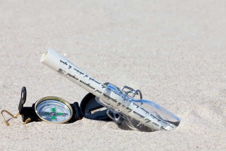 Message in a bottle with a compass is in the sand on the beach photo