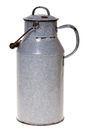 Old enamel milk churn with lid, isolated on white background