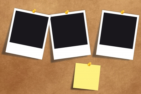 Retro vintage background bulletin board with blank photo cards and a yellow note paper Stock Photo - 15029179