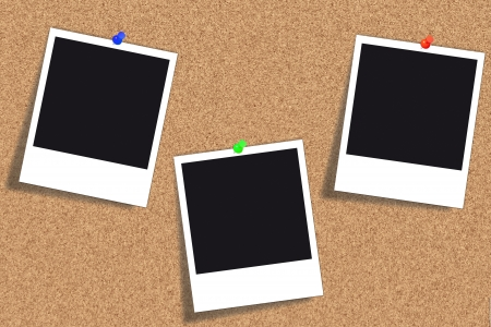 Bulletin board - Cork board with three emty pictures pinned with thumbtacks in different colors Stock Photo - 15967357