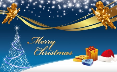 Christmas Greeting Card  Merry Christmas  with golden Angels, Christmas tree, Santa claus cap, gifts, golden ribbon on a blue color background Standard-Bild
