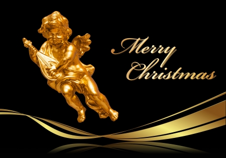 Christmas Greeting Card  Merry Christmas  with golden Angels, golden ribbon on a black background