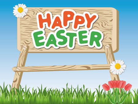 The words Happy Easter on a wooden sign on the meadow Imagens