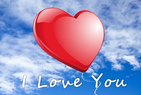 Red heart in front of blue sky with the words  I Love you Stock Photo - 17132523