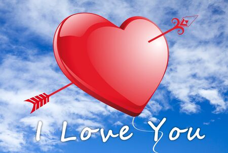 Red heart with arrow in front of blue sky with the words  I Love you Stock Photo - 17131557
