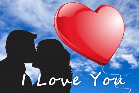 Kissing couple illustration with a big red heart in front of blue sky with the words  I Love you Stock Illustration - 17132521