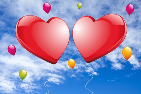Two big red hearts and colorful balloons flying against a blue sky Stock Photo - 17132524