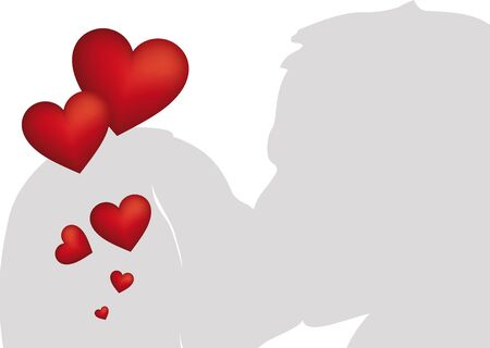Kissing couple silhouette as illustration with many red hearts Stock Illustration - 17132515