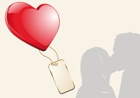 Kissing couple silhouette as illustration with a big red heart and a pendant Stock Illustration - 17132516