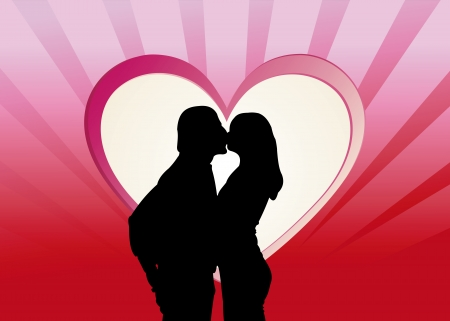 Kissing couple silhouette in front of a red heart illustration Stock Illustration - 17132518