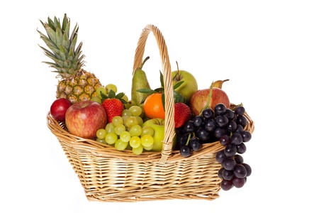 willow fruit basket: Fresh fruits in wicker basket isolated front of white background Stock Photo