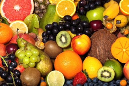 exotic fruit: Background from many different exotic fruits