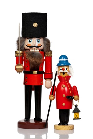 Large Nutcracker and Christmas Smoker isolated in front of white background Stock Photo - 20239552