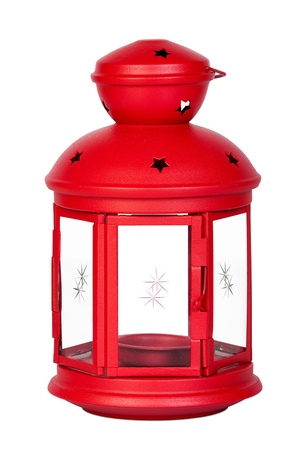 Red lantern made of metal isolated in front of white background Reklamní fotografie