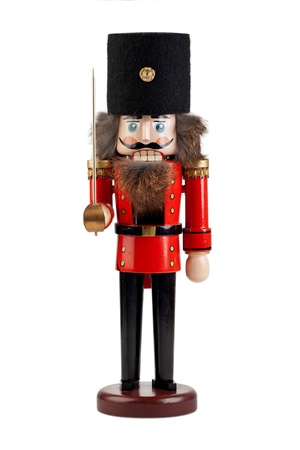 Large Nutcracker in uniform isolated on white background