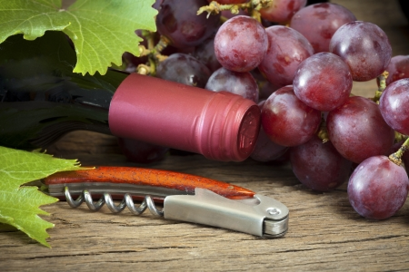 winemaker: Ripe red grapes with vine leaves are by a wine bottle and corkscrew on a wooden background